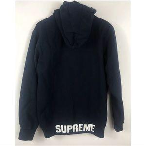 Supreme Embossed Logo Hoodie L full zip navy auth